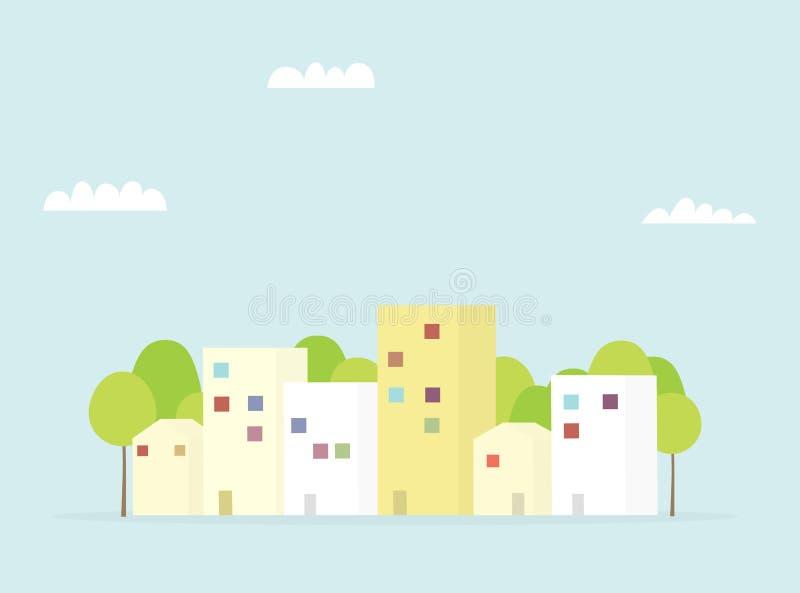 Stadsstraat met huizen en bomen vector illustratie