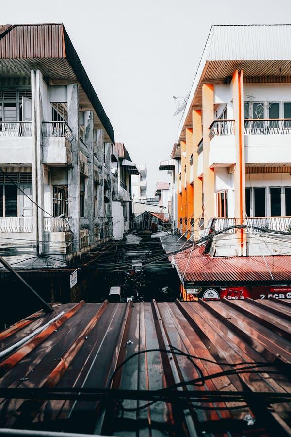Stadsstraat 30/10/2019, pontianak, indonesië stock foto's