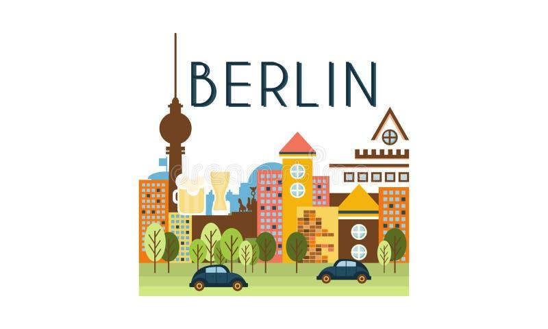 Stadsstraat, van de de reisaffiche van Berlijn de vectorillustratie op een witte achtergrond vector illustratie