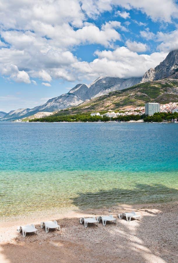 Stadsstrand, Makarska, Kroatien royaltyfri foto