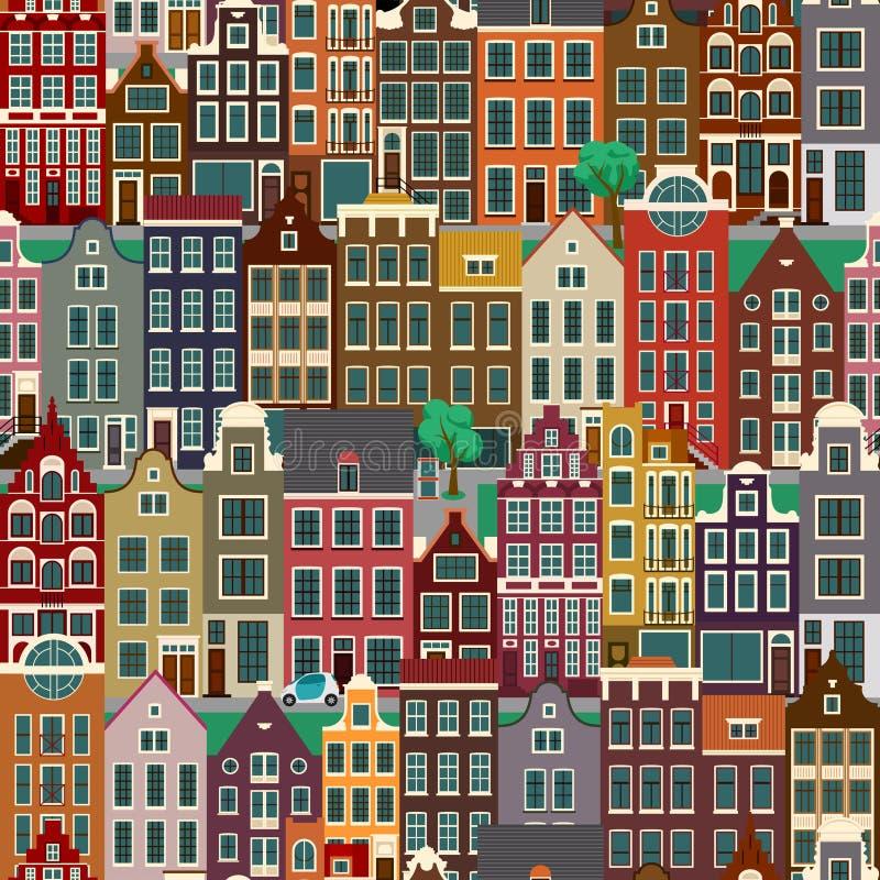 Stadsstraten met oude gebouwen, naadloos patroon royalty-vrije illustratie