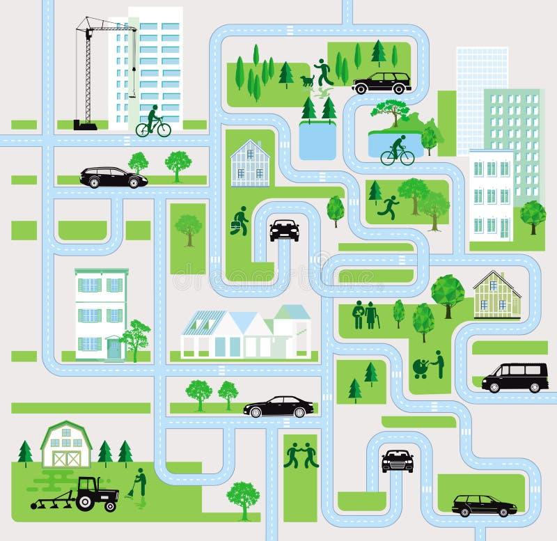 Stadsstraten met voetgangers en auto royalty-vrije illustratie