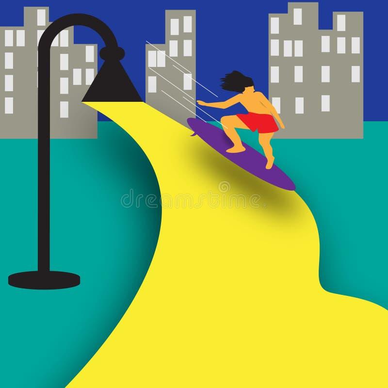 Stadssurfare stock illustrationer