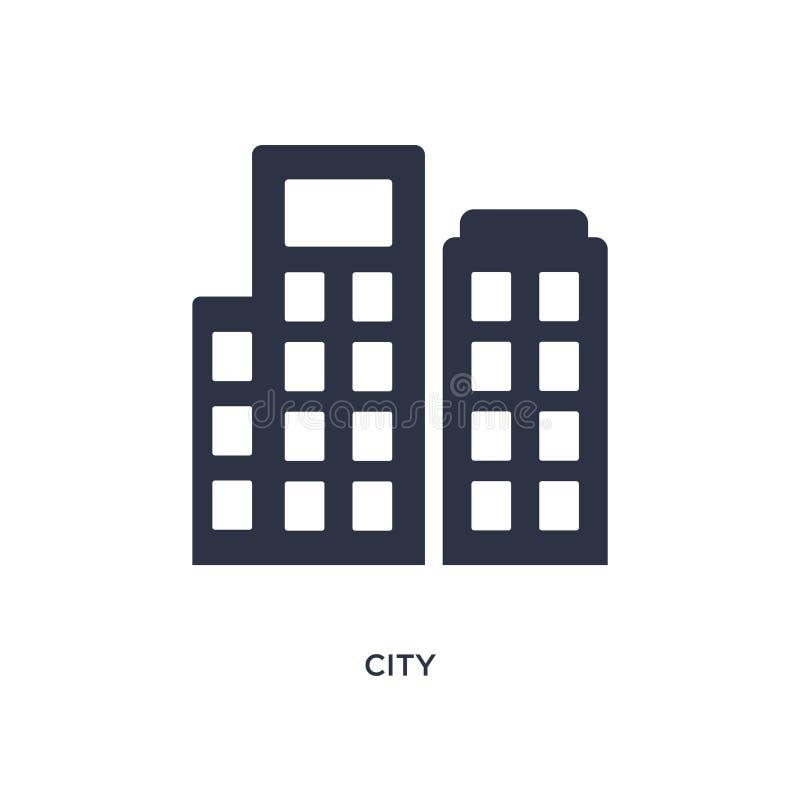 Stadssymbol på vit bakgrund Enkel beståndsdelillustration från etikbegrepp stock illustrationer
