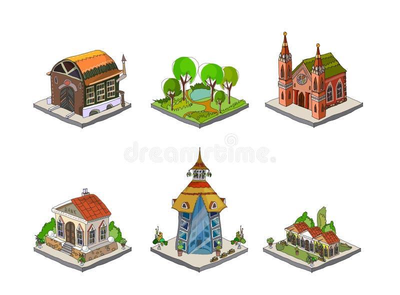Stadssymboler, byggnader, parkerar detailesdelen av samlingen vektor illustrationer
