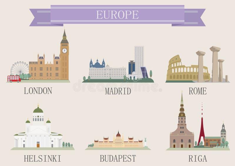 Stadssymbool. Europa stock illustratie