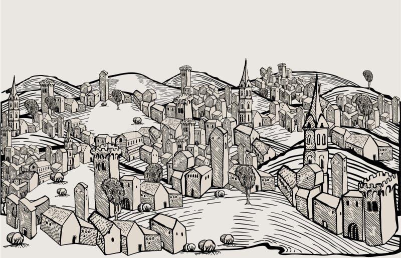 stadsteckning florence stock illustrationer