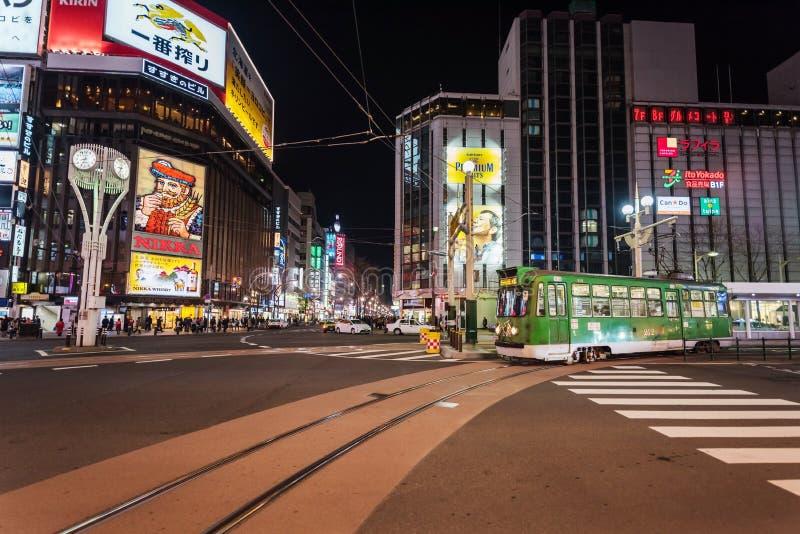 Stadstram bij Susukino-kruising stock afbeelding