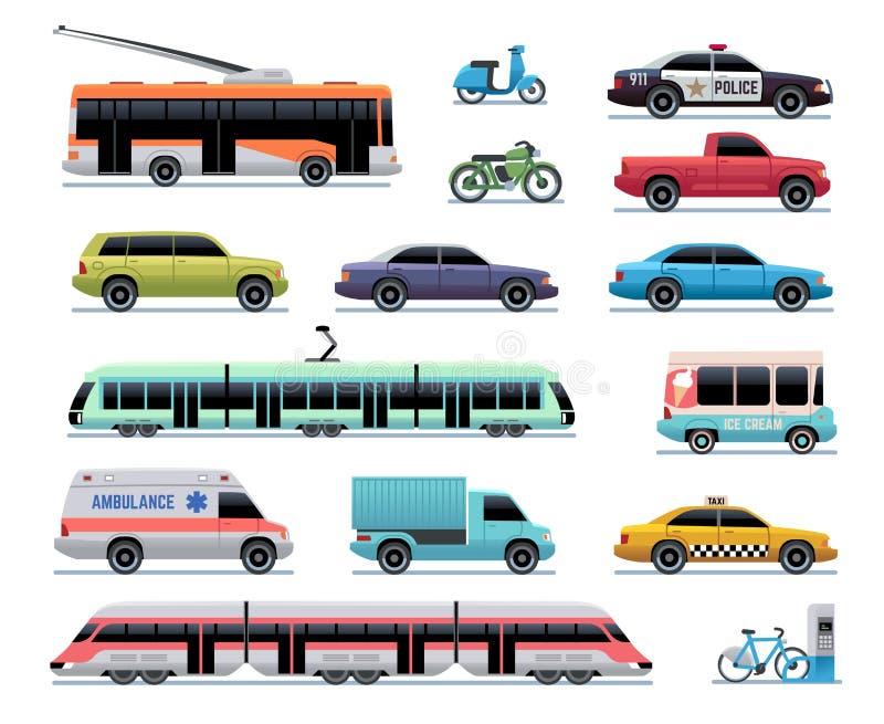 Stadstransport Tecknad filmbil, buss och lastbil, spårvagn Drev, trådbuss och sparkcykel Stads- medelvektortrans. royaltyfri illustrationer