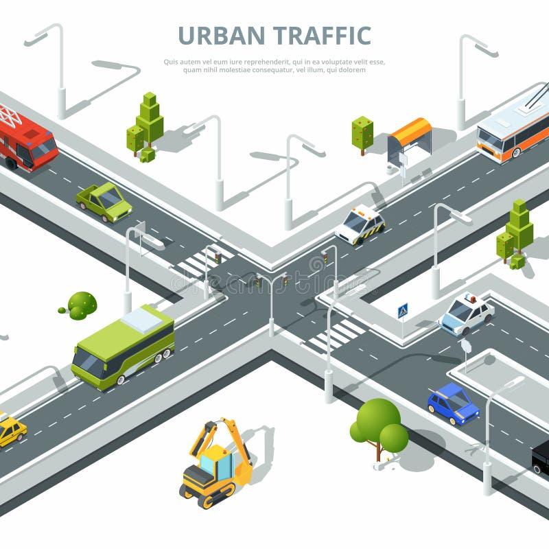 Stadstvärgata Illustrationer av stads- trafik med olika bilar Isometriska bilder för vektor vektor illustrationer