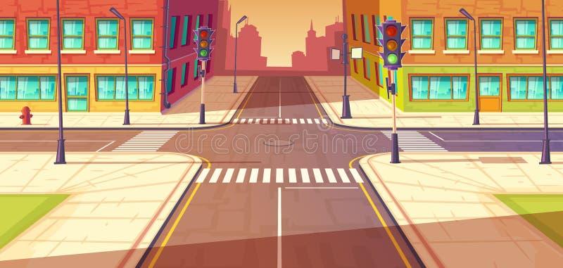 Stadstvärgator, genomskärningsvektorillustration Stads- huvudväg, övergångsställe med trafikljus vektor illustrationer