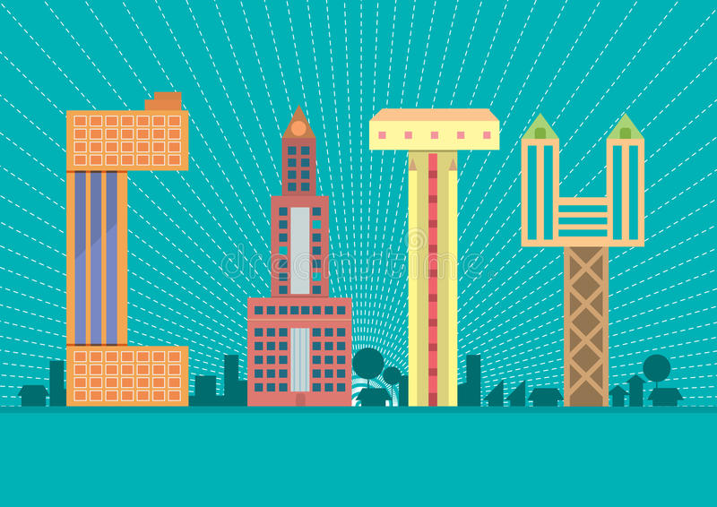 Stadstypografi illustration arkivbilder