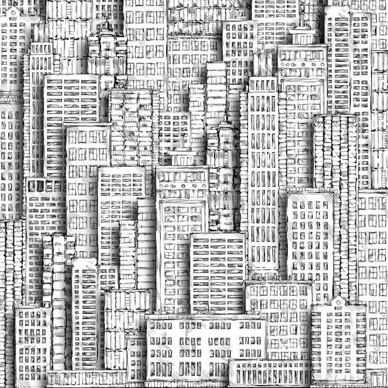 Stadsutveckling och miljö bakgrund tecknad hand vektor illustrationer