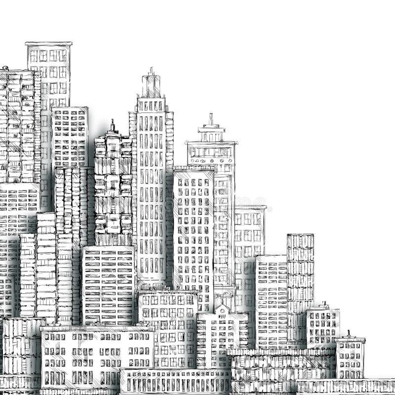 Stadsutveckling och miljö Hand-dragen bakcgound stock illustrationer