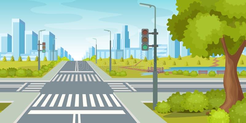 Stadsväg med tvärgatatrafikljus Illustration för stadshuvudvägvektor royaltyfri illustrationer