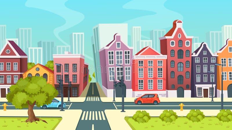 Stadsväg med tvärgator, fjärdedelgata, låghus- områdescentrum vektor illustrationer