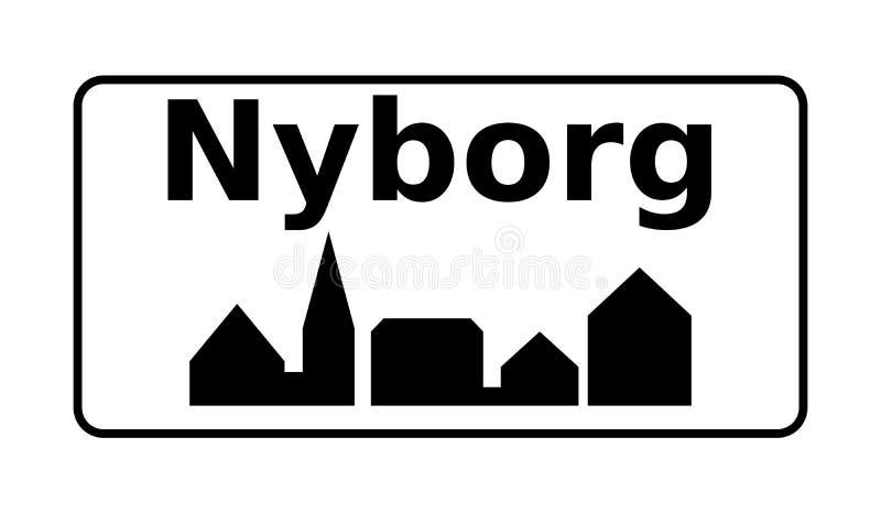 Stadsverkeersteken Nyborg in Denemarken royalty-vrije illustratie