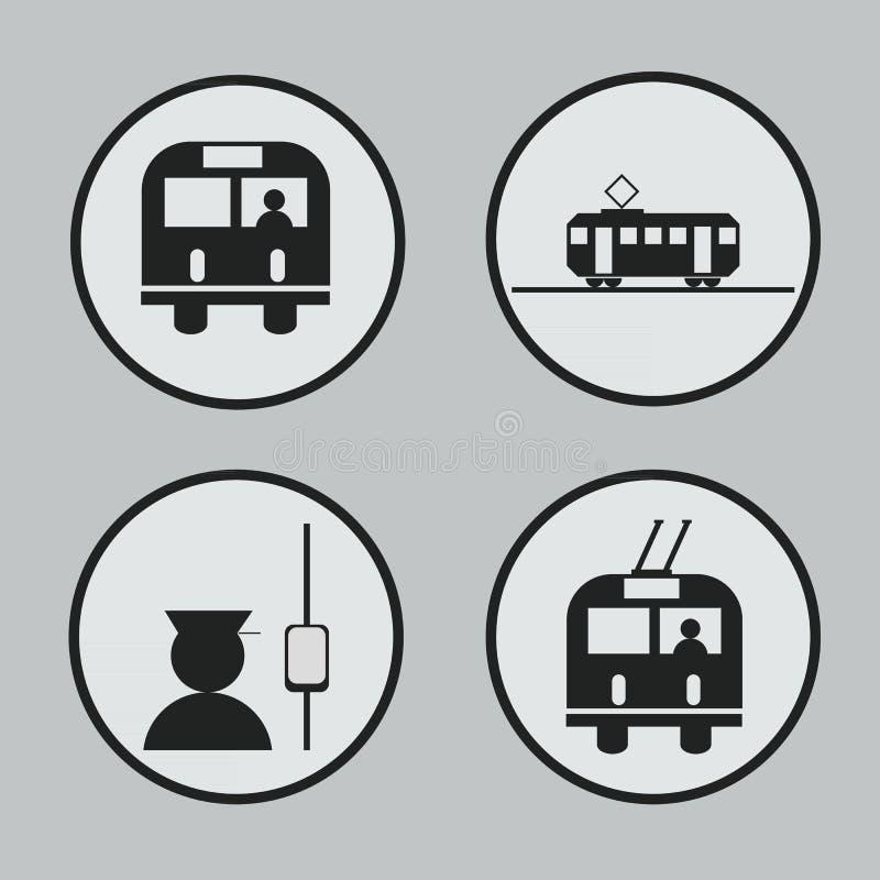 Stadsvervoer: bus, tram, trolleybus en leiderpictogrammen en vector illustratie