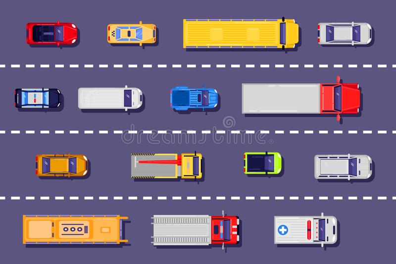 Stadsvervoer op de weg, hoogste meningsillustratie Vector vlakke voertuigpictogrammen op asfaltachtergrond vector illustratie