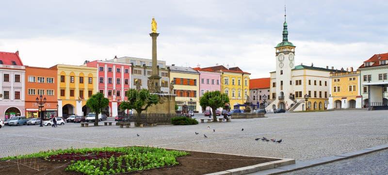Stadsvierkant in Kromeriz, Tsjechische Republiek stock afbeelding