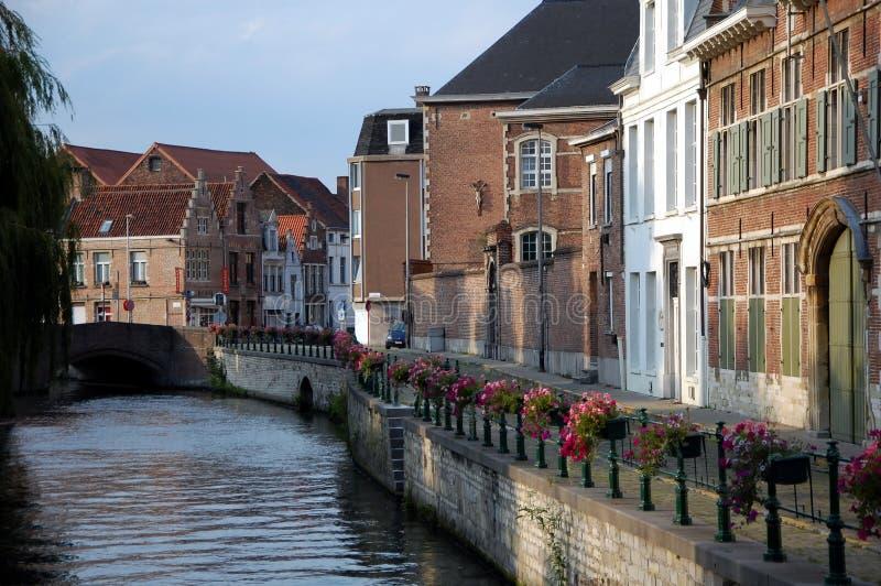Stadsweergave van Brugge stock afbeeldingen