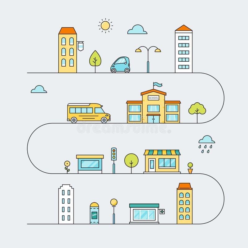 Stadswegen met Straten, Vervoer, School, Huizen en Winkels Vectoroverzicht Gekleurde Illustratie vector illustratie