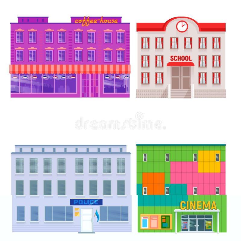 Stadtöffentliche gebäude bringt Straßenwohnungs-Vektorillustration der flachen Konstruktionsbüro-Architektur moderne unter lizenzfreie abbildung