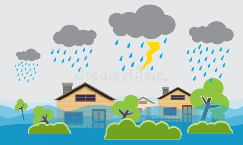 Stadt †‹â€ ‹Flut, starker Regen, Vektorentwurf vektor abbildung