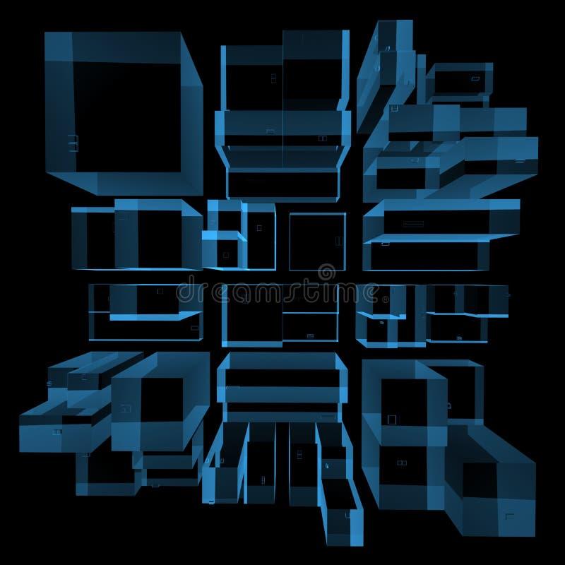 Stadt 3D machte Röntgenstrahl blau lizenzfreie abbildung