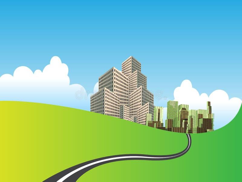 Stadt auf grüner Wiese stock abbildung