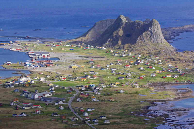 Stadt auf Lofoten stockfotografie