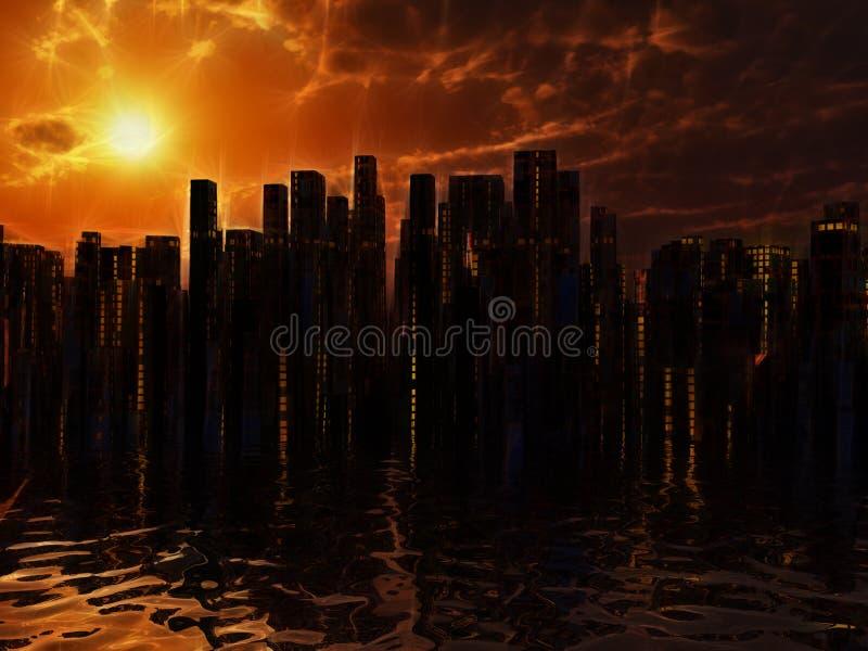Stadt auf Wasser stock abbildung