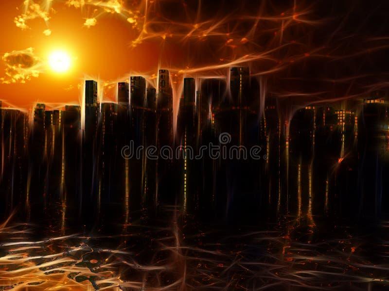 Stadt auf Wassersonnenuntergang oder -sonnenaufgang lizenzfreie abbildung