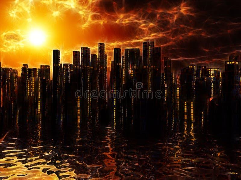 Stadt auf Wassersonnenuntergangsonnenaufgang lizenzfreie abbildung