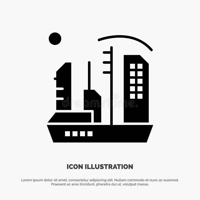 Stadt, Besiedlung, Kolonie, Haube, Expansion fester Glyph-Ikonenvektor lizenzfreie abbildung