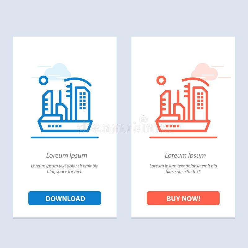 Stadt, Besiedlung, Kolonie, Haube, Expansions-Blau und rotes Download und Netz Widget-Karten-Schablone jetzt kaufen stock abbildung