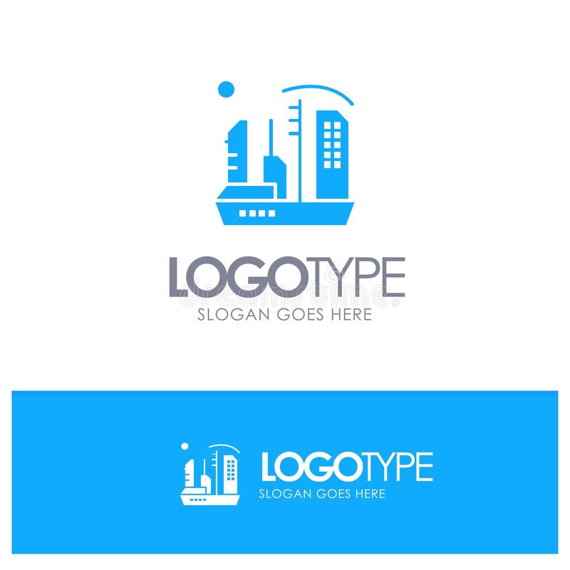 Stadt, Besiedlung, Kolonie, Haube, Expansions-blaues festes Logo mit Platz für Tagline stock abbildung