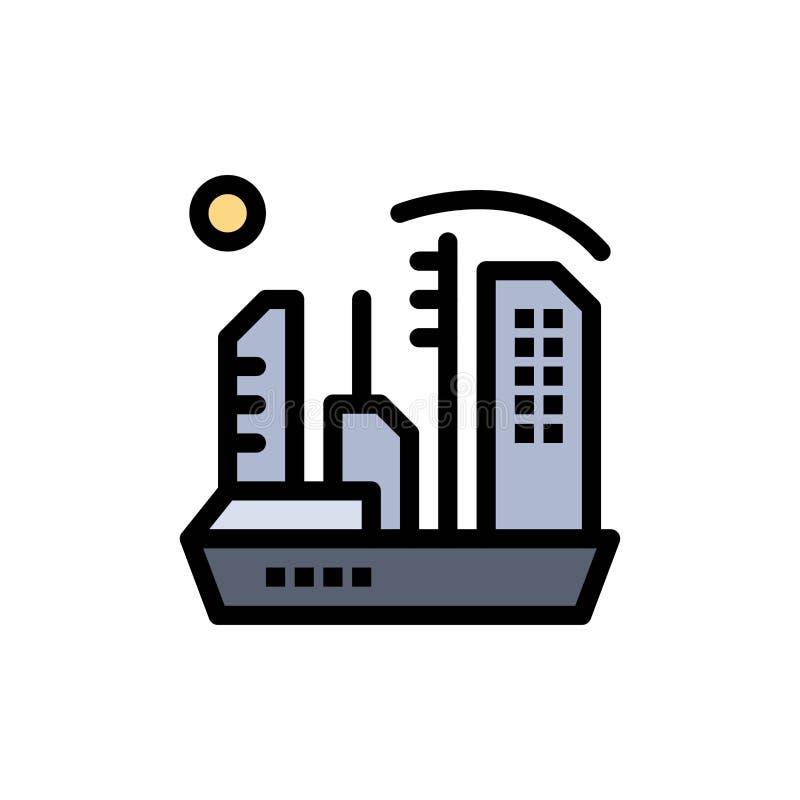 Stadt, Besiedlung, Kolonie, Haube, Expansions-flache Farbikone Vektorikonen-Fahne Schablone lizenzfreie abbildung