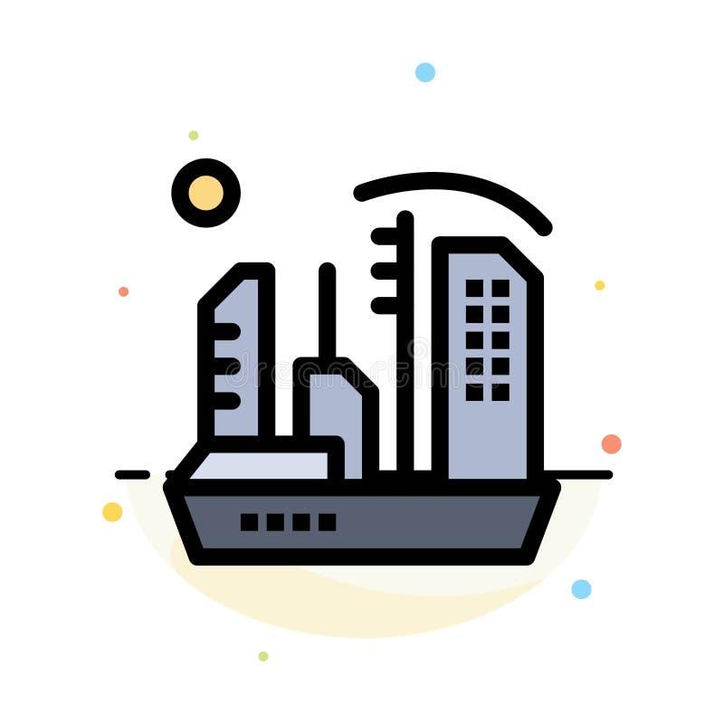 Stadt, Besiedlung, Kolonie, Haube, Expansions-Zusammenfassungs-flache Farbikonen-Schablone vektor abbildung