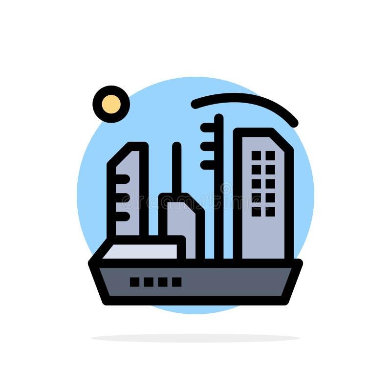 Stadt, Besiedlung, Kolonie, Haube, flache Ikone Farbe Expansions-des abstrakten Kreis-Hintergrundes lizenzfreie abbildung