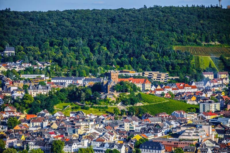 Stadt Bingen morgens Rhein in Rheinland-Pfalz in Deutschland stockfotografie