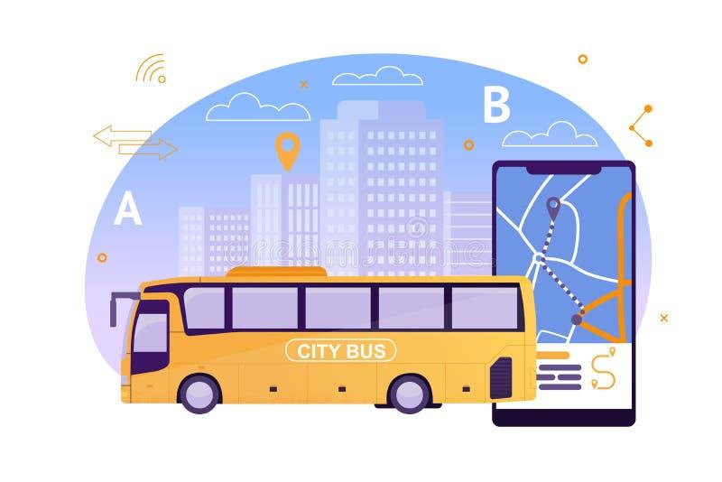 Stadt-Bus mit Karten-Anwendung am Handy vektor abbildung