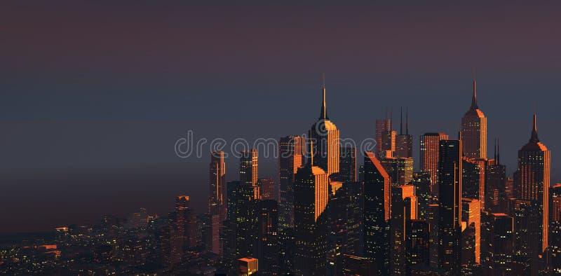Stadt an der Dämmerung vektor abbildung