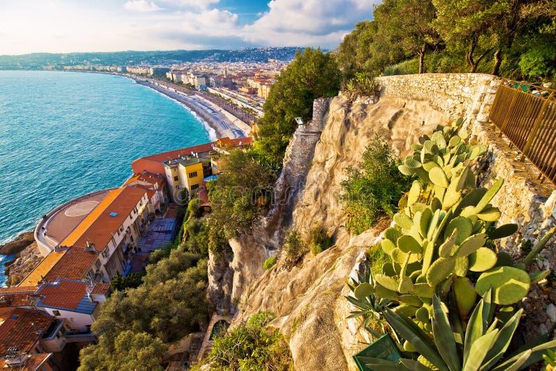 Stadt der Nizza Promenade des Anglais -Ufergegendvogelperspektive lizenzfreie stockbilder