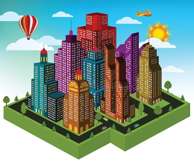Stadt in der Perspektive vektor abbildung