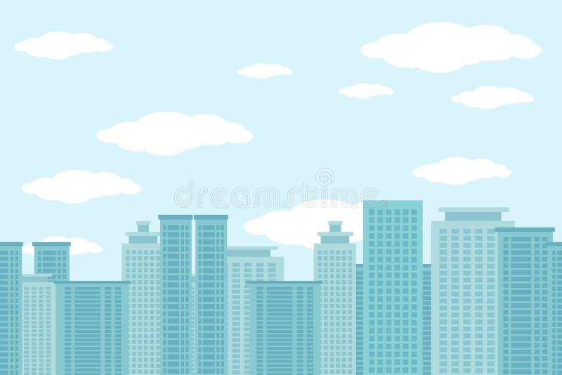 Stadt des horizontalen nahtlosen Musters der Wolkenkratzer stock abbildung