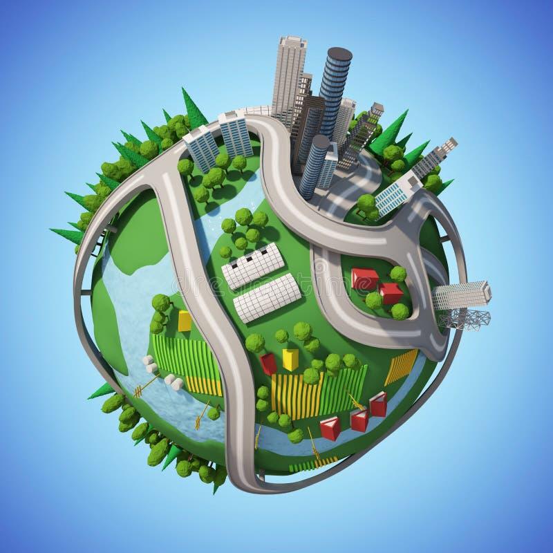 Stadt des Planeten-3D lizenzfreie stockbilder
