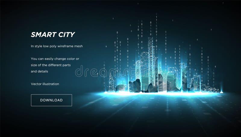 Stadt des Zusammenfassung niedrigen Poly-wireframe Konzept des intelligenten cityand Flussbinär code Plexuslinien und -punkte in  lizenzfreie abbildung
