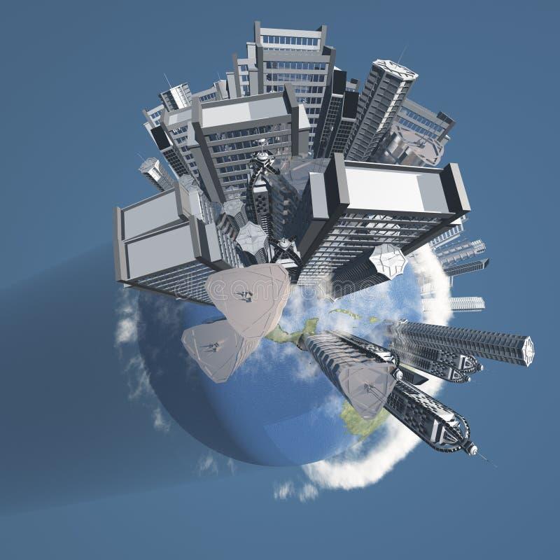 Stadt-Erde mit Wolken vektor abbildung