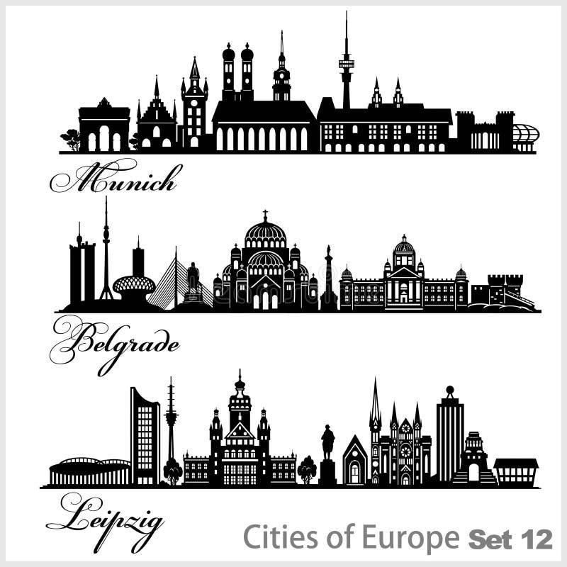 Stadt Europa - München, Belgrad, Leipzig Detaillierte Architektur Trendvektor-Illustration stock abbildung